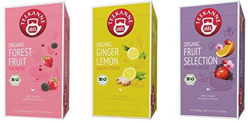 Teekanne Bio Früchtetee - Ginger Lemon, Forest Fruit, Fruit Selection (3 x 20 Teebeutel, 146 g)