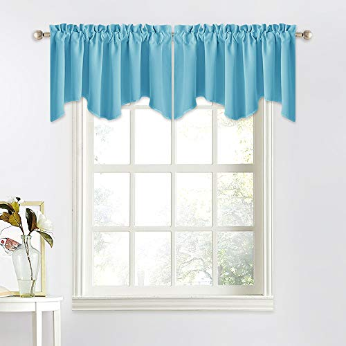 NICETOWN Short Blackout Valance Curtain - 52 inches by 18 inches Scalloped Kitchen/Bathroom/Living Room/Hotel/Kids Room Valance Tier Window Curtain (Teal Blue=Light Blue, Single Piece)