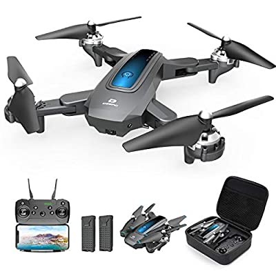 DEERC Drone with Camera 720P HD FPV Live Video 2 Batteries and Carrying Case, RC Quadcopter Helicopter for Kids and Adults, Gravity Control, Altitude Hold, Headless Mode, Waypoints Functions by DEERC