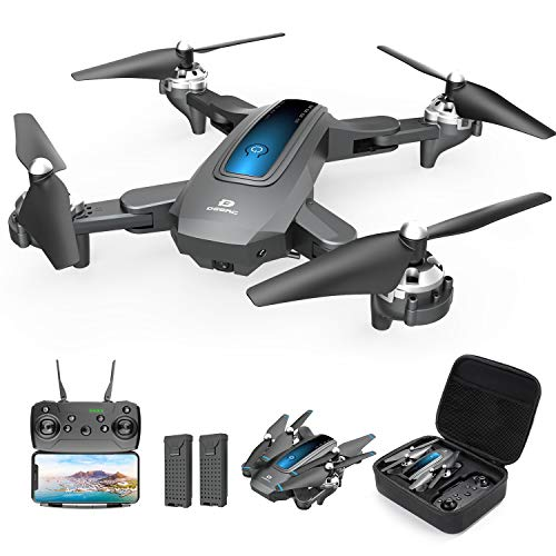 DEERC Drone with Camera 720P HD FPV Live Video 2 Batteries and Carrying Case, RC Quadcopter Helicopter for Kids and Adults, Gravity Control, Altitude Hold, Headless Mode, Waypoints Functions