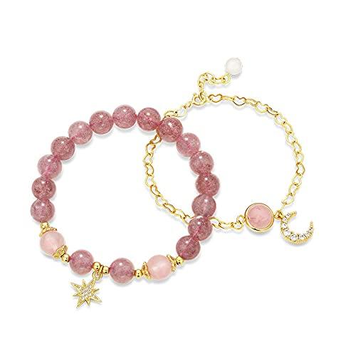 Braclets para mujer con cuentas de cristal de fresa conjunto de pulsera con colgante de luna de estrella
