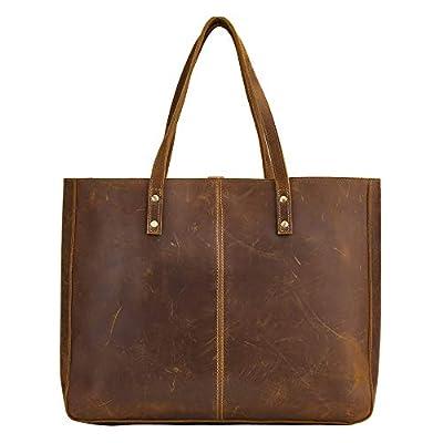 BRASS TACKS Leathercraft Full Crazy Horse Leather Handbag for Men and Women Business Shoulder Bag Vintage Brown Laptop Bag