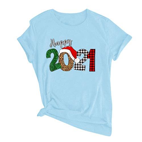 YANFANG Camiseta de Vacaciones Happy 2021 Linda Informal de Manga Corta con Cuello en O de Moda para Mujer
