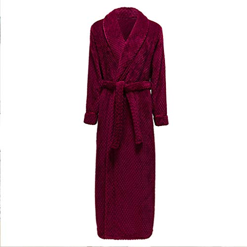 Albornoz largo para mujer con forro polar coral mullido, ligero, de manga larga (color rojo, tamaño: grande)
