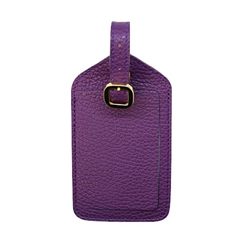 Purple Colorado Collection Genuine Leather Travel Luggage Tags – Made in USA by Real Leather Creations FBA669
