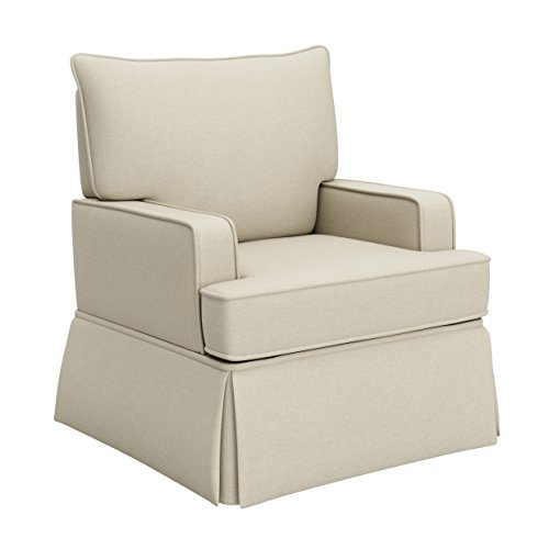Storkcraft Davenport Upholstered Swivel Glider, Sahara Cleanable Upholstered Comfort Rocking Nursery...