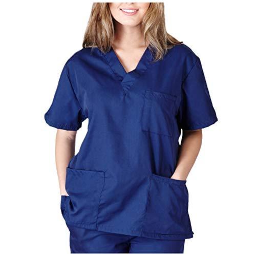 PJQQ Unisex Nursing Medical Shirt Mit V-Ausschnitt Bequemes, Weiches, Atmungsaktives Pflege-Arbeitskleid Mode Kurzarm Frosted Nursing Pocket Top