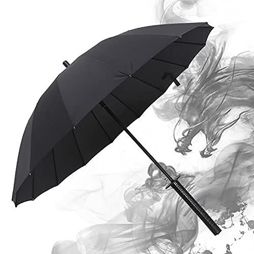 PWE-Paraguas De Espada Katana Resistente Al Viento,Cuchillo Semiautomático Decoración De Paraguas, Regalo De Cumpleaños,Negro,16K