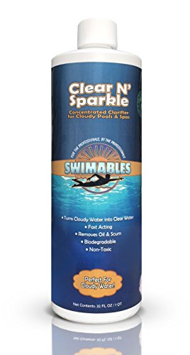 Swimables Clear N' Sparkle All Natural Heavy Duty Swimming Pool and Spa Clarifier - Replacement for Clorox Super Water Clarifier - Perfect for Cloudy Water