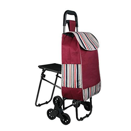 MINGDIAN 6 Räder Faltbarer Einkaufskorb Treppen Anhänger Einkaufswagen Wagen mit Klapphocker Elderly Climb Stair Einkaufswagen
