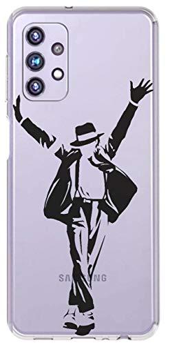 Mixroom - Cover Custodia Case in TPU Silicone Morbida Sfondo Trasparente per Samsung Galaxy A32 4G (Non per A32 5G) Fantasia Michael Jackson Star T547