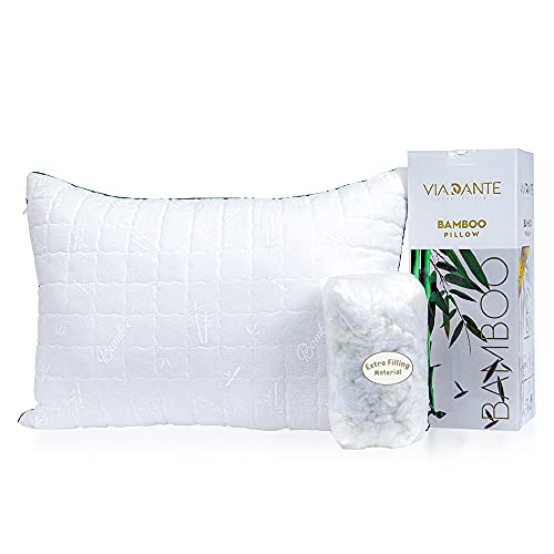 ViaDante Bamboo Pillow – Adjustable Premium Bamboo Pillows for Sleeping - Oeko- TEX Certified Bamboo Filling Pillow - Hypoallergenic Bed Pillow with Extra Filling Material - Machine Washable Cover