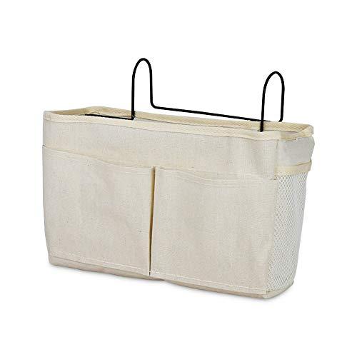 Whchiy Cesta de almacenamiento colgante para mesita de noche, organizador multifunción para cabeceros, literas, camas de hospital, dormitorios (con bolsillo, blanco)