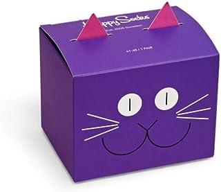 Happy Socks, Calcetines de algodón multicolor prémium en caja de regalo para hombres y mujeres, caja de regalo con diseño de gato (talla: 41 – 46)