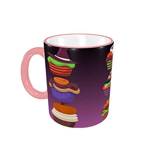 Taza de café Cupcake Scary Sweets Tazas de café Tazas de cerámica con Asas para Bebidas Calientes - Latte, Tea, Cocoa, Cereal, Tea Cup, Coffee Gifts 12 oz,Yellow