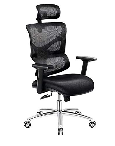 3D Ergonomic Office Chair High Back Mesh Chair w/Thickened Foot Tube,3D Adjustable Armrest,Headrest and Lumbar Support,Computer Game Chair(Black)