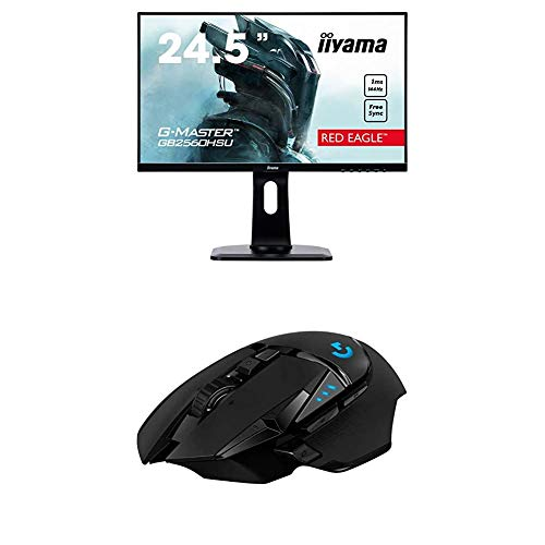 iiyama G-MASTER Red Eagle GB2560HSU-B1 62,2 cm (24,5 Zoll) Gaming Monitor Full-HD 144Hz (Höhenverstellung) + Logitech G502 Lightspeed Wireless Gaming Maus (Kabellose Verbindung, USB-Anschluss) schwarz