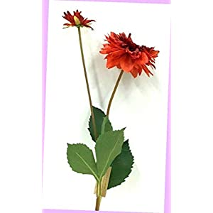 Artificial Dahlia Flower Stem W/Bud Two Tone Red 29″ T X 3 1/2″ Bloom Silk Artificial Flowers Bouquet Realistic Flower Arrangements Craft Art Decor Plant for Party Home Wedding Decoration