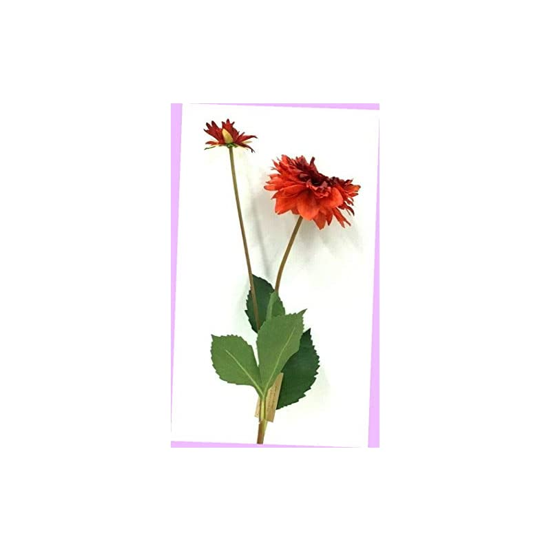 "silk flower arrangements artificial dahlia flower stem w/bud two tone red 29"" t x 3 1/2"" bloom silk artificial flowers bouquet realistic flower arrangements craft art decor plant for party home wedding decoration"