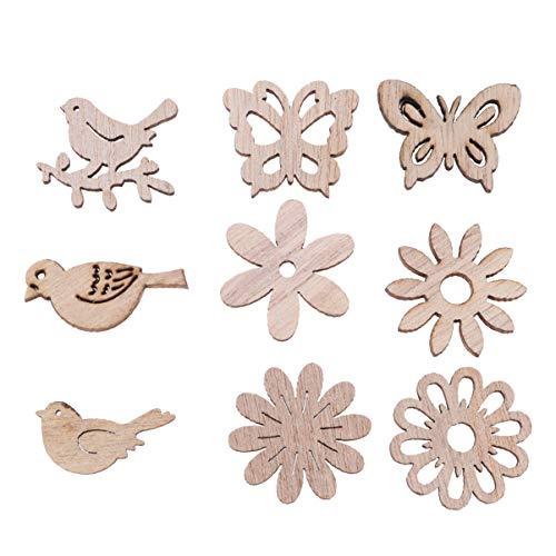 Amosfun 100 piezas de madera recortes de madera pájaro mariposa flor rodajas adornos de madera mesa confeti decoración rústica adornos para manualidades diy suministros