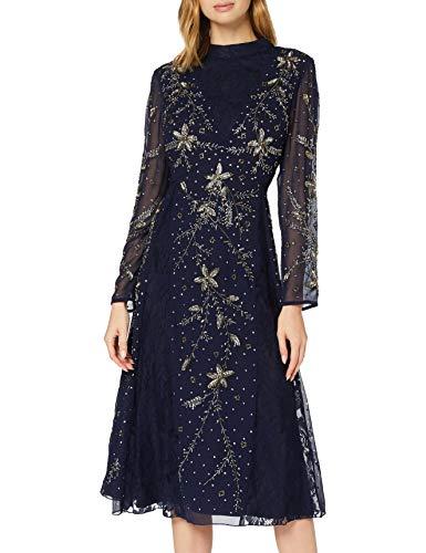 Frock and Frill Karis Embellished Midi Dress Vestito da Sera Formale, Navy, Large Donna