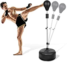 Reflex Bag Speed Punching Bag with Adjustable Height Free Standing Punching Bag Strong Durable Spring Withstands Tough Hits for Adults & Teenagers (Black)