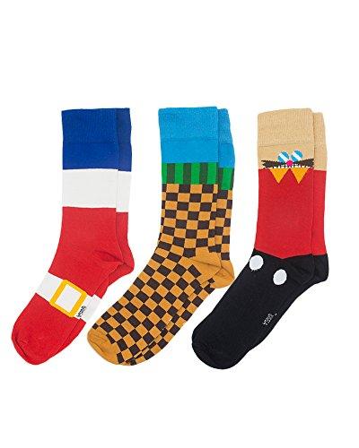 numskull Sonic the Hedgehog Socken - 3 einzigartige Paare - OneSize (UK 6 -11 / EU 39 - 46) Baumwolle