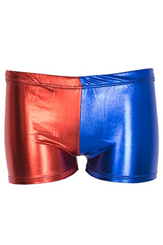 NOROZE Damen Kotrastfarbige Shorts Frauen 2 Farbton Hot Pants (Rot Blau 005, 44)
