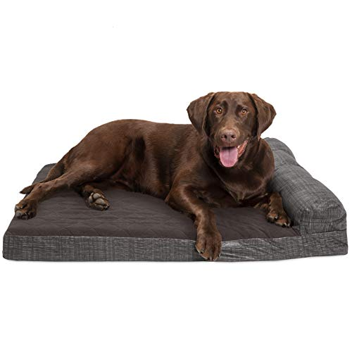 Furhaven Pet Dog Bed - Deluxe Cooling Gel Memory Foam Quilted Fleece and Print Suede Chaise Lounge Living Room Couch Pet Bed with Removable Cover for Dogs and Cats, Espresso, Large