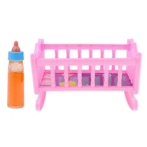 chiwanji Cute Baby Doll Rocking Bed + Feeding Bottle for 20cm Doll Accessory