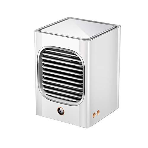 Lomelomme Climatizador portátil portátil de escritorio, mini enfriador de aire silencioso, esterilización de cabeza batida, acondicionador recargable, para oficina, Blanco, Talla única
