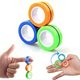 YENIU Magnetic Rings Toys ,Colorful Decompression Fidget Unzip Magnetic fingertip Toys B...