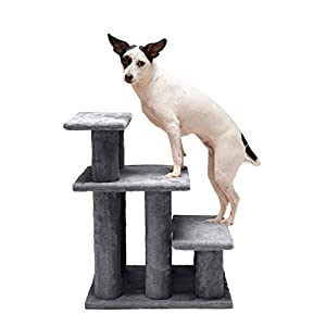 Furhaven Pet Stairs – Steady Paws Easy Multi-Step Pet Stairs Assist Ramp for Dogs and Cats, Gray, 3-Step