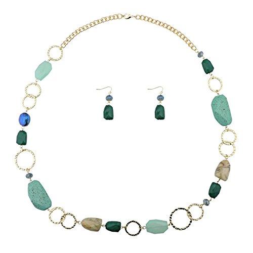 Bocar, parure collana lunga e orecchini con perline, alla moda, da donna, idea regalo e materiale non metallico, colore: teal, cod. NK-10076