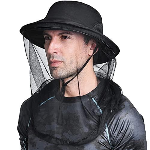 Zanzariera testa netta giungla protezione viso maschera anti-zanzara secchio cappello Midge cappello con rete rete per donna/uomo, Design arricchito (nero), M