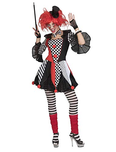 erdbeerclown - Damen Frauen Kostüm, Horror Clown Jester Harlequin Harlekin, perfekt für Halloween Karneval und Fasching, XL, Mehrfarbig