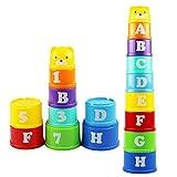 Yangyme Apilables Nido Tazas, Cubos Abecedario y Números Stack Tazas Arcoiris Multicolor Set de Construcción Juguetes Bebé Educativo Actividad Juguetes, 9 Piezas