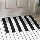Elloevn Schwarz und Weiß Streifen Moderne Teppiche, Waschbar Fußmatte Outdoor, Shaggy Terrasse Teppich für Wohnzimmer, Küche, Kinderzimmer, 70 * 110 cm - 7