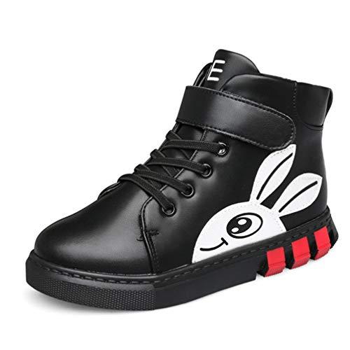 Niños y niñas Zapatillas de Deporte de Alta Gama otoño e Invierno cómodo Cuero más Terciopelo cálido Antideslizante Zapatos Casuales Princesa Conejo Resistente al Desgaste