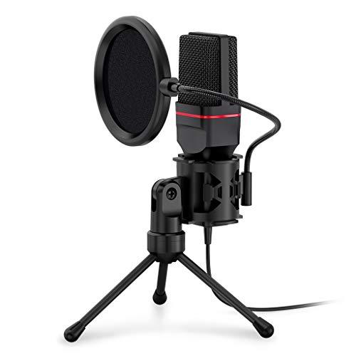 FKSDHDG Micrófono de Condensador con trípode Audio 3,5 mm Micrófono de Estudio de computadora para teléfono de PC Teléfono de grabación de Karaoke