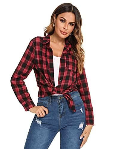 Irevial Donna Camicie a Quadri Casuale Camicia Manica Lunga Bluse Elegante Camicetta Primavera Autunno, Nero+Rosso, M