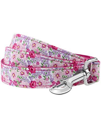 Taglory Pink Blume Muster Hundeleine 1.5m, Starkes und Bequemes Leine Hund für Kleine, Mittel und Große Hunde,Rosa