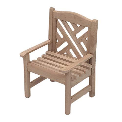 Sonoaud Escala de madera 1:12 DIY silla de casa de muñecas accesorio de escenario miniatura para micro paisaje, decoración de muebles de fingir regalo para niños mayores de 3 años de color de madera