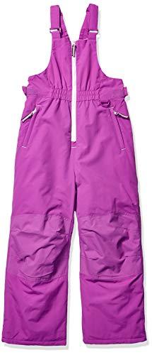 Amazon Essentials Girls' Little Water-Resistant Snow Bib, Bright Purple, Small