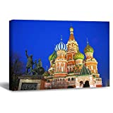 VinMea Wall Art Canvas The Kremlin and The Moscow River Strecthed Poster Picture Ready to Hang Modern Home Art Decor, 16 x 20 Inch
