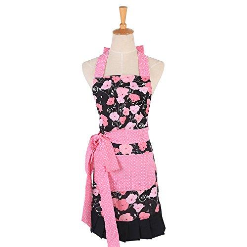 Schön Frau Schürze Baumwolle Blumenmuster Küchenschürze Modische Apron mit Taschen zum Kochen oder Backen