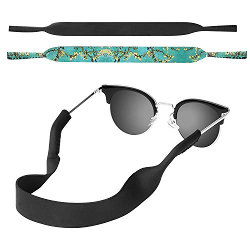 MoKo Neoprene Brillenband - [2 Stück] Universal Sonnenbrille Eyewear Strap Brillenkordel schwimmende Material Anti-Rutsch Schutzbrille Halter für Kinder, Männer, Frauen - Schwarz & Aprikose Blume