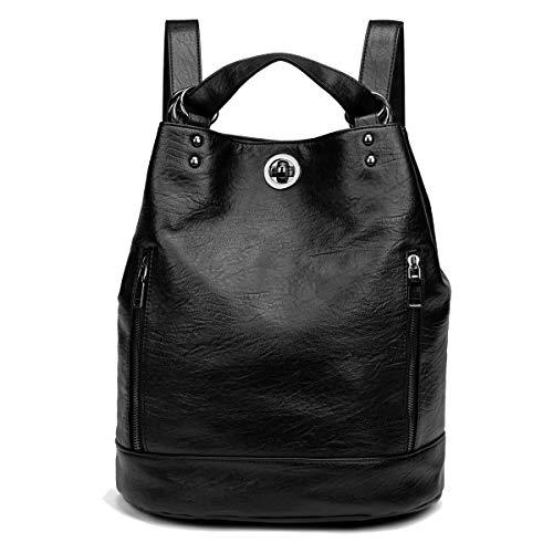 Tisdaini® Bolsos Mochila Mujer moda casual viaje Retro Bolsos de mano mochila Negro