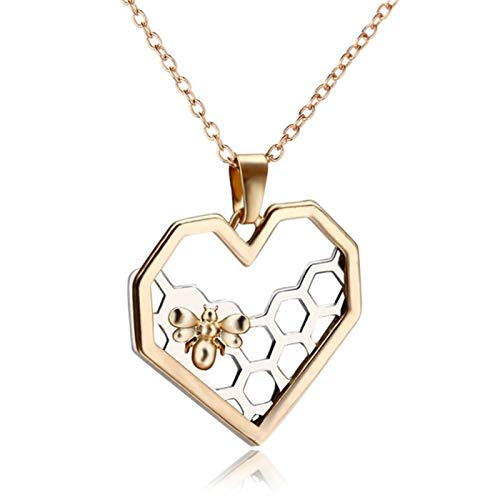 ZAOPP Charm Fashion Silver Color Necklaces For Women Girl Heart Honeycomb Bee Animal Pendant Choker Necklace Jewelry Party Prom Gift Accessories (Metal Color : Gold)