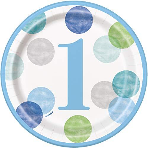 Pappteller - 18 cm - Blaue Punkte 1. Geburtstag - Packung mit 8 Stück